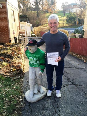 """Sasquatch, or """"Squashy,"""" reunited with Ralph Spence at his Delhi Township home Tuesday."""