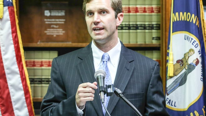 Kentucky Attorney General Andy Beshear spoke to the media during a press conference talking about the AG's office suing the Bevin administration for disbanding two boards in recent weeks.June 22, 2016