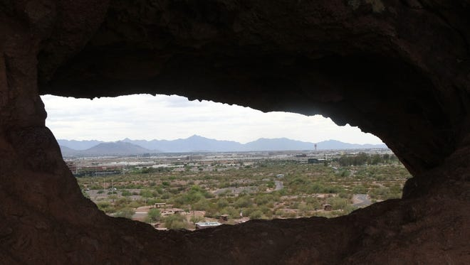 A view from Hole in- the Rock looking South at Papago Park in Phoenix.