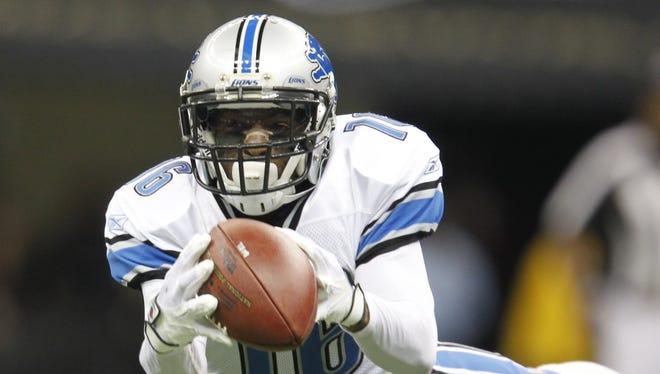 Detroit Lions wide receiver Titus Young tries to make a catch Jan. 7,  2012.