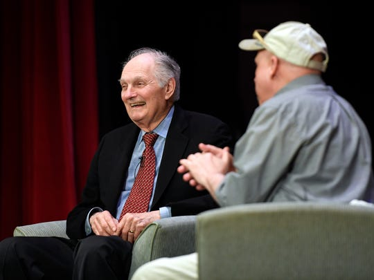 Northjersey.com columnist Bill Ervolino, right, moderates a discussion with actor Alan Alda during the annual premier speaker event at the Kaplen JCC on the Palisades in Tenafly, NJ on Sunday, April 15, 2018.