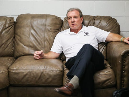 Texas A&M University head coach Jimbo Fisher waits to give a lecture during the Angelo Football Clinic Tuesday, June 12, 2018, at Junell Center.