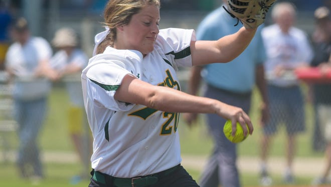 Holy Savior Menard pitcher Jensen Howell (20) throws to an Archbishop Hannan batter during a quarterfinal game in the LHSAA Fast Pitch 56 State Softball Championship tournament at Frasch Park in Sulphur, LA, Friday, May 1, 2015.