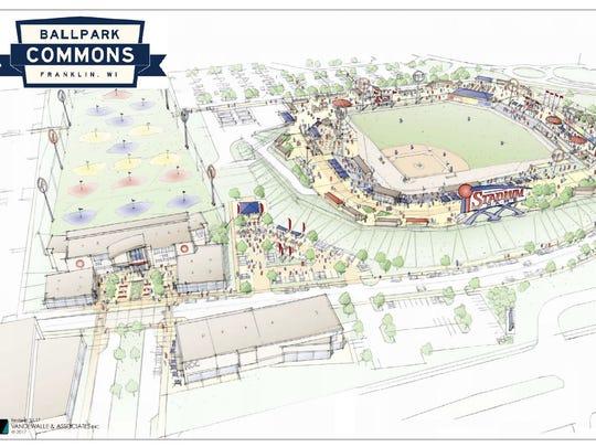 Artist's rendering of the Ballpark Commons stadium,