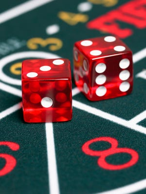 Dice on craps table