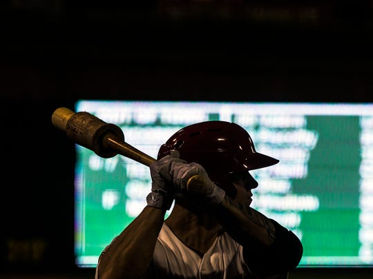 August 17, 2017 - Memphis Redbirds outfielder Tyler O'Neill warms up to bat during a game against the Nashville Sounds at AutoZone Park. The Redbirds would lose the game 11-8.