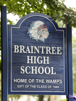 """The town of Braintree is considering changing the name of the school mascot from """"Wamps"""" on Monday June 29,  2020 Greg Derr/The Patriot Ledger"""