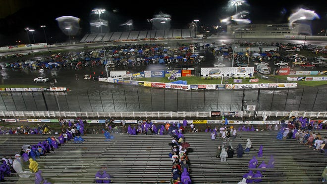 Rain is shown soaking the Knoxville Raceway in this 2009 photo.