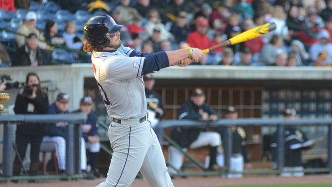 Will Allen of Ole Miss takes a swing against Southern Miss Tuesday at Trustmark Park.