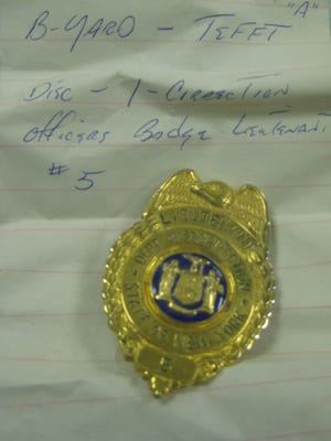 A corrections badge from Attica riot found at State Police barracks in 2010.