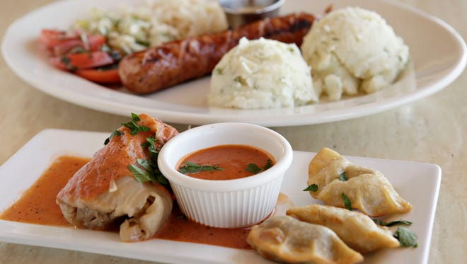 The Polish Sampler plate from Beaver Choice Restaurant features cabbage rolls, perogie, polish sausage and salads.