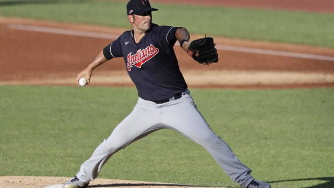 Indians starting pitcher Adam Plutko delivers during an intrasquad game on July 13.