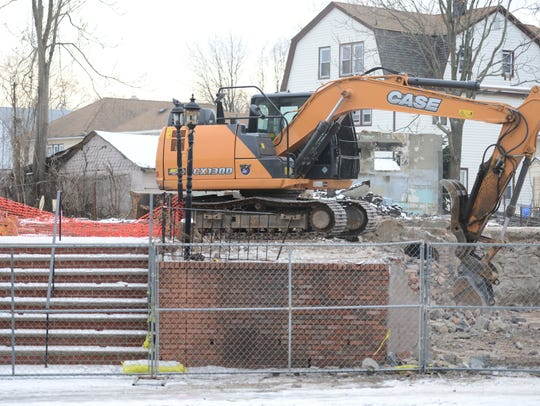 Construction equipment at the site of the former Casa di Calabria in Haledon.