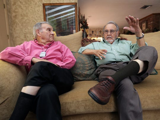 "World War II veteran twin brothers Manuel Luis ""Manny"" Santoscoy, left, and Luis Manuel ""Louis"" Santoscoy talk about their participation in the Pacific theater during World War II."