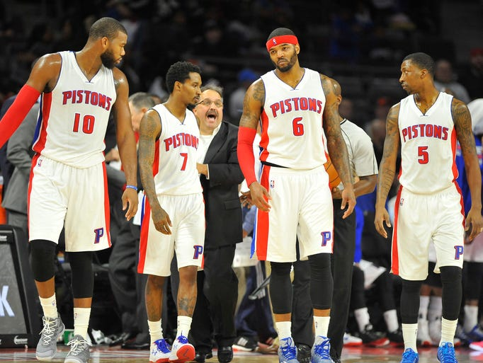 Pistons Greg Monroe, Brandon Jennings, Josh Smith and