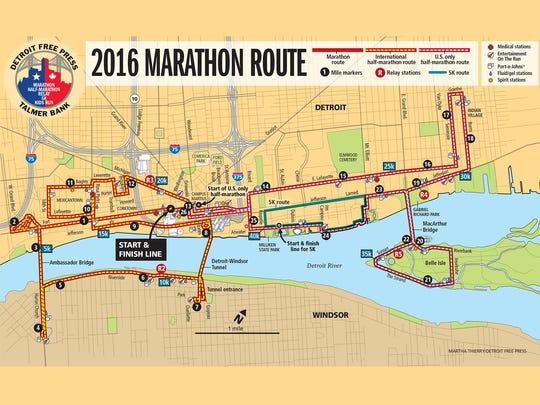 The Detroit marathon route for 2016.