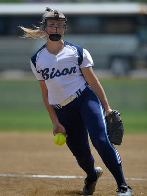Great Falls High's Erin Hocker delivers to the plate in Thursday's game against Helena High during the Class AA State Softball Tournament in Helena.