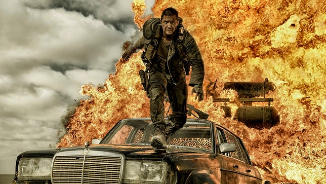 Max Rockatansky (Tom Hardy) tries to stay alive in the explosive Wasteland of 'Mad Max: Fury Road.'