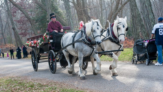 Horse drawn carriage from Our American Dream Farm, LLC, Cream Ridge, NJ, provided rides throughout the village. Driving is owner Rich Osborn. Christmas at Allaire was held at The Historic Village at Allaire in Farmingdale, NJ, on Sunday, December 13, 2015.