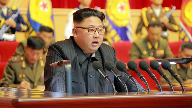 North Korean leader Kim Jong-Un delivering a speech at the third meeting of KPA Activists in O Jung Hup-led 7th Regiment Title Movement at the April 25 House of Culture in Pyongyang.