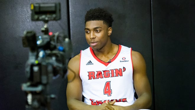 UL newcomer Frank Bartley during an interview session at Ragin' Cajun men's media day last week.