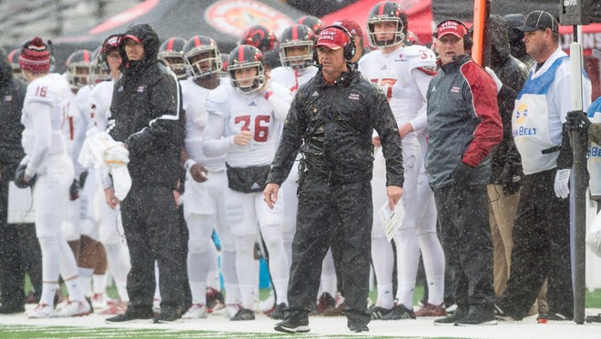 UL coach Mark Hudspeth and his Cajuns ended their 2016 regular season with a rain-soaked win at UL Monroe. The two teams meet again Saturday.