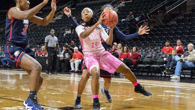 UL's Gabby Alexander looks to get off a shot during the Cajuns' 62-38 home win over South Alabama on Thursday.