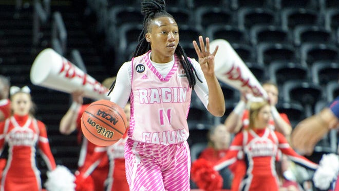 UL guard Jaylyn Gordon was honored as a first-team All-Sun Belt member Monday.