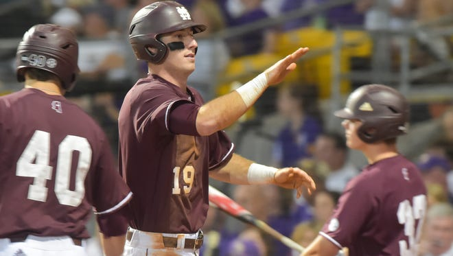 Brent Rooker scores the first run of the game as Mississippi State takes on LSU in the NCAA Super Regional at Alex Box Stadium in Baton Rouge, LA.- Saturday, June 10, 2017.