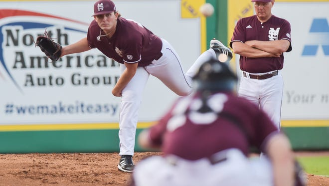 Mississippi State ace Konnor Pilkington has had an up-and-down junior season, but he's got a chance to shine on college baseball's biggest stage at the College World Series Monday night against North Carolina.