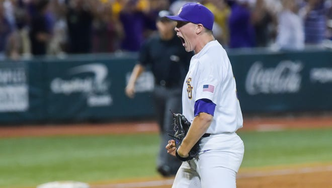 Zack Hess strikes out the batter to win the game as Mississippi State takes on LSU in the NCAA Super Regional at Alex Box Stadium in Baton Rouge, LA.- Saturday, June 10, 2017.