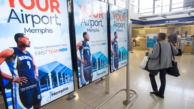 July 16, 2015 - Travelers inside Memphis International Airport now pass banks of electronic billboards featuring Memphis Grizzlies player Tony Allen. (Brandon Dill/Special to The Commercial Appeal)
