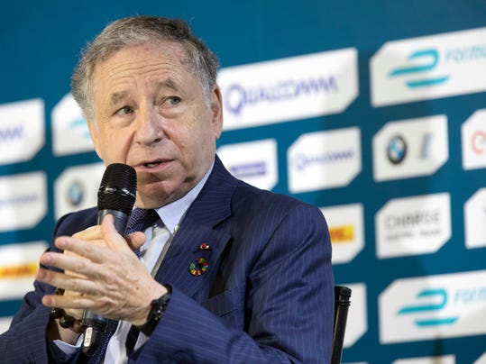 """FILE - In this  Friday, July 14, 2017 file photo, FIA President Jean Todt speaks during a news conference in the Brooklyn borough of New York New York. """"Grid kids"""" are replacing """"grid girls"""" in Formula One as the motorsport series continues to change ahead of the new season. F1 says youngsters from motorsport clubs, who for example are already competing in karting, will stand alongside drivers on the grid before races this season, Monday, Feb. 5, 2018. (AP Photo/Mary Altaffer, File)"""