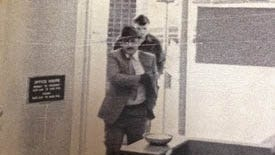 Francis J. Deisler (wearing hat) and Wayne Leo Casper enter the Continental Savings and Loan at 6500 N. 76th St. to rob it on Oct. 4, 1972. Deisler was later convicted and sent to prison for the crime spree.
