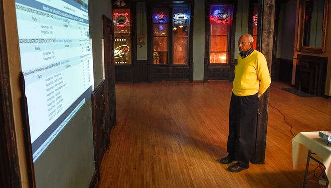 St. Cloud District 742 School Board Chairman Les Green watches the early results on the district referendum question with supporters Tuesday, Nov. 8, at D.B. Searle's.