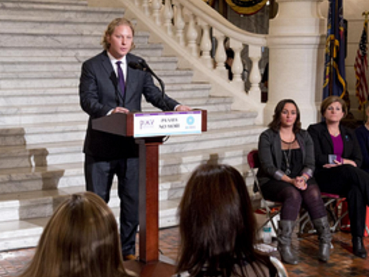State Rep. Kevin Schreiber, D-York City, speaks at a ceremony on Tuesday to honor Pennsylvania's domestic homicide victims. He has introduced two pieces of legislation to help domestic-violence victims.