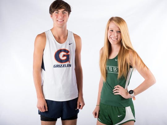 Zach Long of Grainger High School and Peighton Meske of Webb School of Knoxville are the cross country runners of the year. (SAUL YOUNG/NEWS SENTINEL)