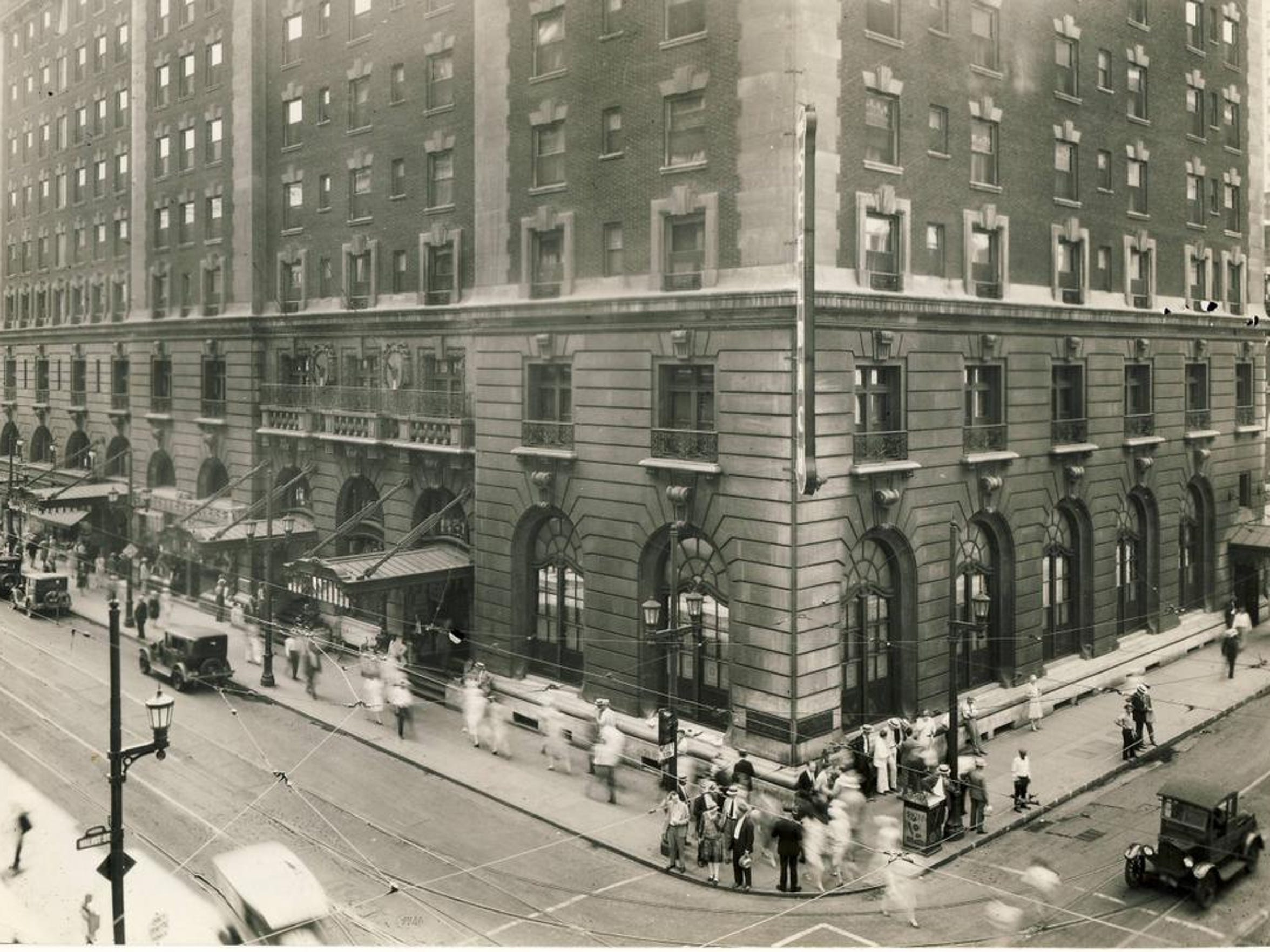 The Seelbach Hotel, built by brothers Louis and Otto Seelbach from Germany, is shown in 1928 at 4th and Walnut streets, now Muhammad Ali Blvd.