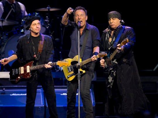 Nils Lofgren, Bruce Springsteen and Steven Van Zandt perform, Sunday, January 31, 2016, at the Prudential Center in Newark.