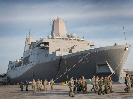 """USS Somerset (LPD-25) is the third ship named for the victims of 9/11, honoring those aboard United 93. While not visible here, the ship includes a """"93"""" marking and the phrase """"Let's roll."""""""