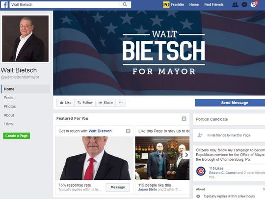 Walt Bietsch's Facebook page for his candidacy for