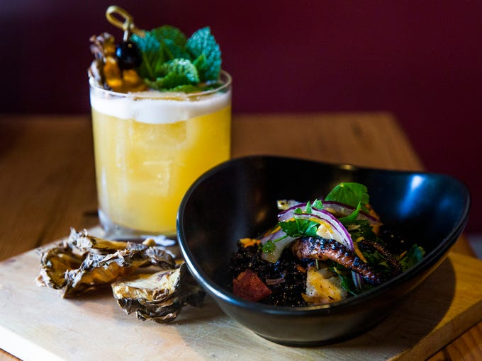 Fallen monk cocktail and charred octopus antipasti