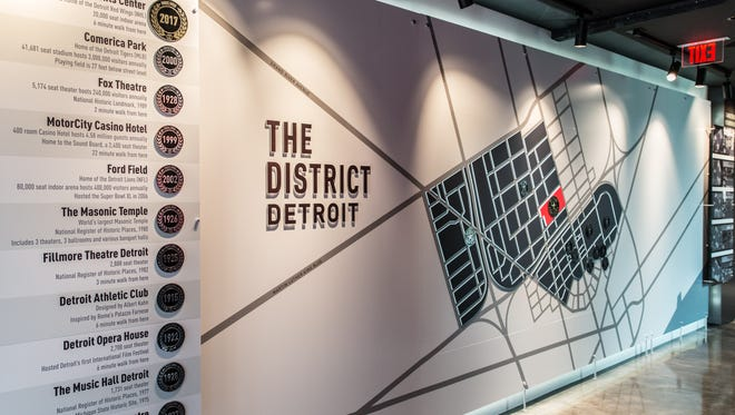 This oversized wall map is part of the new Preview Center the Ilitch family has created to promote its vision for its new arena district.