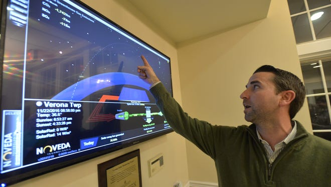 Steven Neale, chair of Sustainable Verona, unveils the new solar monitoring screen  to the Sustainable Verona members at the Community Center, Tuesday night, Nov. 29. Soon to be available on to township website, it tracks the performance of the 150 collectors on the roof, along with other relevant data.