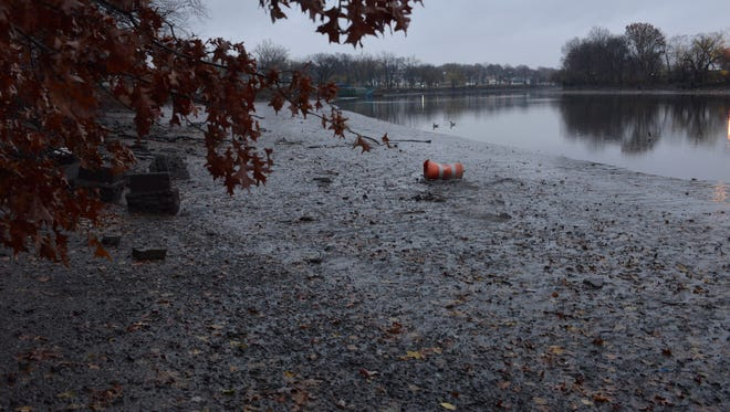 The Passaic River shoreline at Riverside County Park in Lyndhurst, where contaminated mud was excavated and a barrier was put over the remainder.