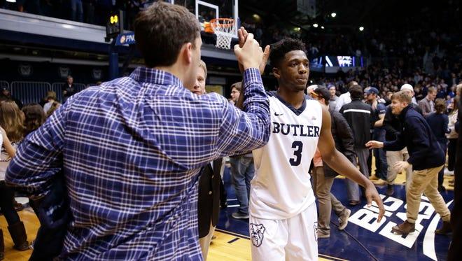 Butler guard Kamar Baldwin (3) celebrates following a 66-58 win over Villanova.