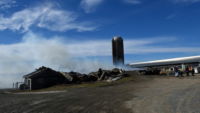 A barn at 2376 Loudon Road, St. Thomas burned to the ground during a fire Sunday February 19, 2017.