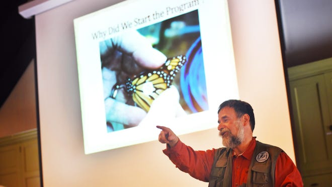 Don Torino, president of the Bergen County Audubon Society, gives a talk on creating a backyard wildlife habitat at the Carriage House Visitor Center of the New Jersey State Botanical Gardens in Ringwood on  Sunday.