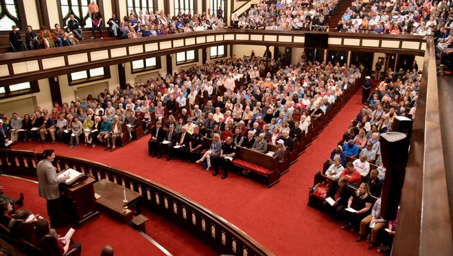 Knoxville area residents filled the Central United Methodist Church sanctuary for a forum Monday night, April 24, 2017, held by Justice Knox  (J. Miles Cary/Special to the News Sentinel)