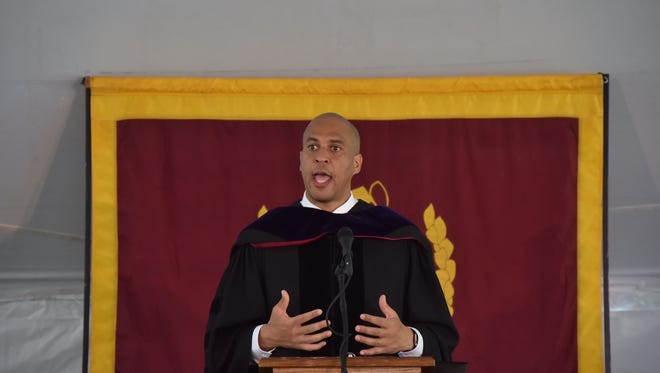 US Sen. Cory Booker speaks at Bloomfield College's 144th Commencement on Friday, May 19.
